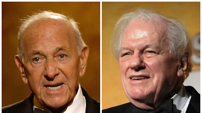 """This combination of Associated Press file photos shows, Jack Klugman, left, speaking at the 62nd Annual Tony Awards in New York on June 15, 2008 and Charles Durning, right, during the 14th Annual Screen Actors Guild Awards in Los Angeles. Klugman and Durning, both of whom died Monday, Dec. 24, 2012,  Klugman at 90 in Los Angeles, Durning at 89 in New York, spent storied careers building catalogues of roles that classed them indisputably as """"character actors."""" (AP Photo/File)"""