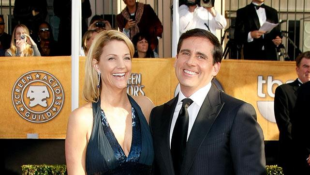 Nancy Walls and Steve Carell arrive at the 15th Annual Screen Actors Guild Awards held at the Shrine Auditorium on January 25, 2009 in Los Angeles, California.