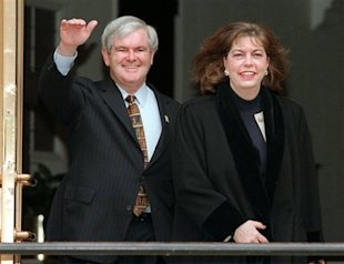Newt Gingrich's second wife, Marianne -- seen with him here in 1997 -- now says that he asked her for an open marriage.