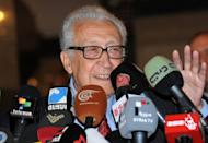 International peace envoy Lakhdar Brahimi gives a press conference at a Damascus hotel on December 27, 2012. The government of President Bashar al-Assad said it welcomed any initiative for talks to end bloodshed in the country, after Brahimi said he had a peace plan acceptable to world powers