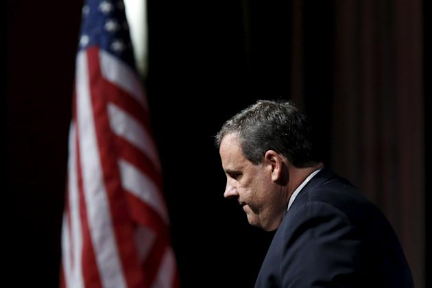 New Jersey Governor Christie exits the stage after his address during the third Annual Champions of Jewish Values International Awards Gala in New York