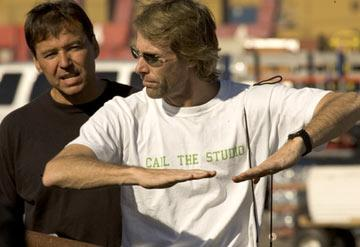 Director Michael Bay on the set of Dreamworks' The Island