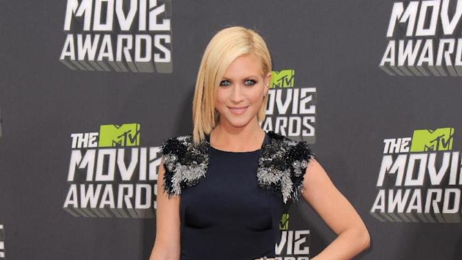 Brittany Snow arrives at the MTV Movie Awards in Sony Pictures Studio Lot in Culver City, Calif., on Sunday April 14, 2013. (Photo by Jordan Strauss/Invision/AP)