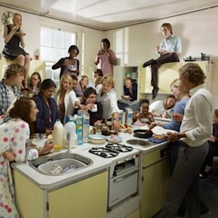 crowded kitchen