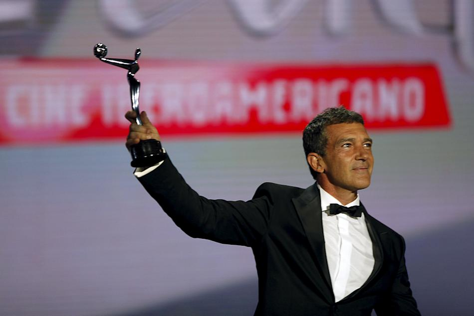 Banderas holds his Premio Platino de Honor (Platinum Award of Honor) for Lifetime Achievement during the second Premios Platino Ibero-American Film Awards in Marbella