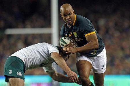 Ireland's McCarthy challenges South Africa's Pietersen during their rugby union international test match in Dublin