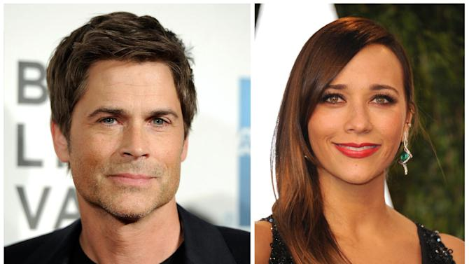 "FILE - NBC's ""Parks and Recreation"" cast members Rob Lowe, left, and Rashida Jones are seen in April, 2012, left, and Feb, 2013 file photos. Lowe and Rashida Jones will leave the series after the 13th episode of the upcoming sixth season. They play characters Chris Traeger and Ann Perkins. The news was first reported by Buzzfeed. (AP Photo/Invision, File)"