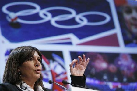Paris city mayor Anne Hidalgo delivers a speech during the presentation of the feasibility study for a potential bid for the 2024 Olympic and Paralympic Games in Paris, at the Paris city hall
