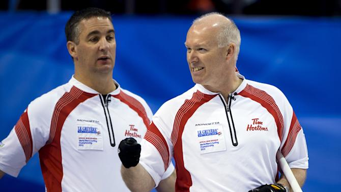 Canada's skip Glenn Howard (R) reacts next to teammate second Wayne Middaugh during their final match against Scotland at the World Men's Curling Championship on April 8, 2012 in Basel. AFP PHOTO / FABRICE COFFRINI (Photo credit should read FABRICE COFFRINI/AFP/Getty Images)