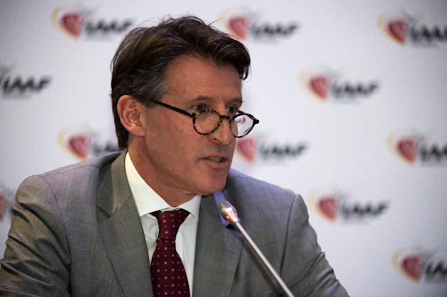 International Association of Athletics Federations (IAAF) President Sebastian Coe addresses a press conference in Monaco, on November 26, 2015