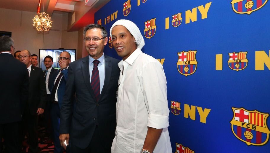 Football: Ronaldinho Helps Officially Unveil Barcelona's New Corporate Headquarters in New York
