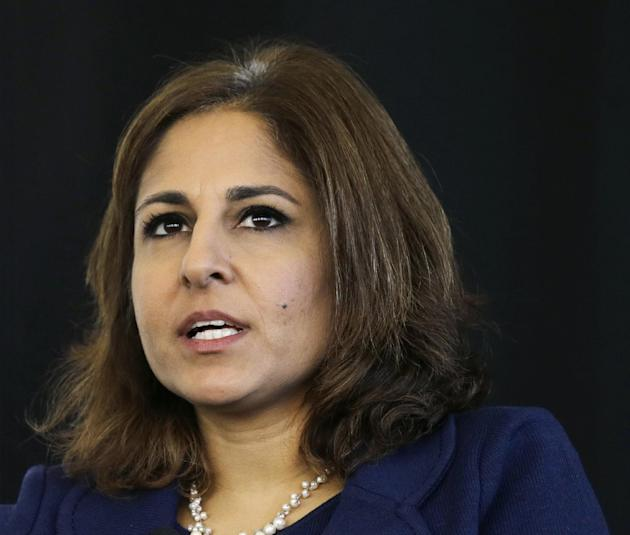 In this photo taken Nov. 10, 2014, Neera Tanden, president of Center for American Progress, speaks in Newark, N.J. The nation has an opportunity to finally change the subject on health care now that t