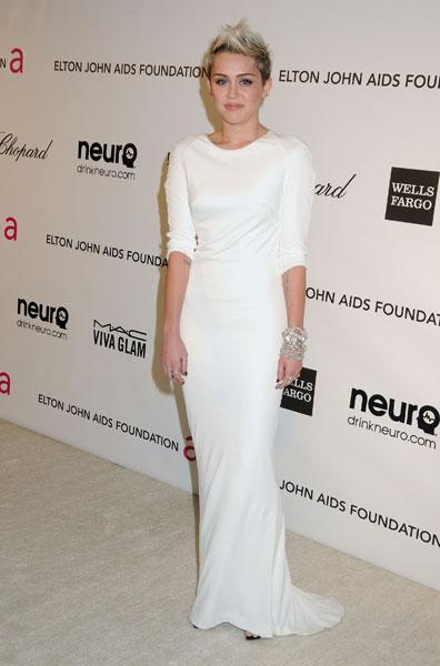 Best dressed: Miley Cyrus The former Disney star Azzaro Elton John AIDS Foundation Party Image © Rex