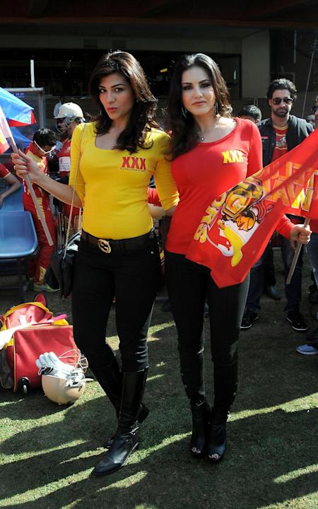 Actresses Sunny Leone and Archana during a Celebrity Cricket League match between Telugu Warriors and Kerala Strikers at Chinnaswamy Stadium in Bangalore on Jan.26, 2014. (Photo: IANS)