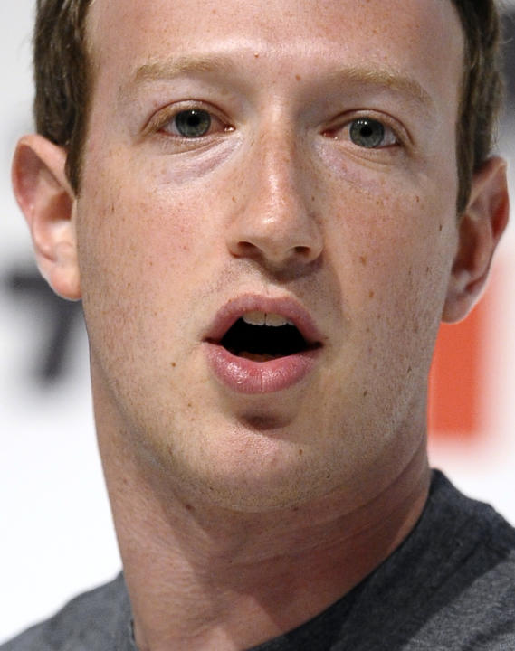 Facebook CEO Mark Zuckerberg speaks during a conference at the Mobile World Congress, the world's largest mobile phone trade show in Barcelona, Spain, Monday, March 2, 2015. (AP Photo/Manu Fernand