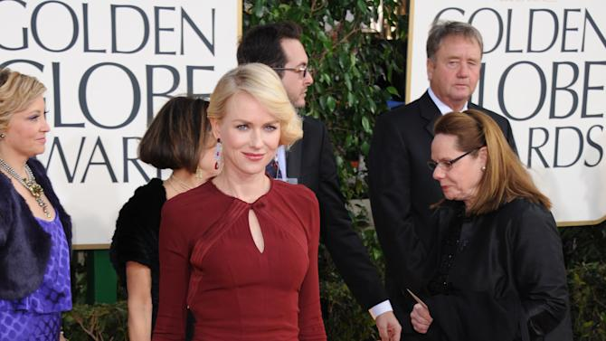 Actress Naomi Watts arrives at the 70th Annual Golden Globe Awards at the Beverly Hilton Hotel on Sunday Jan. 13, 2013, in Beverly Hills, Calif. (Photo by Jordan Strauss/Invision/AP)