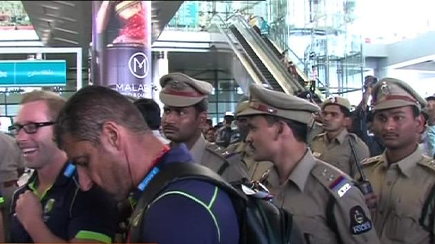 Heavy security for Aussie cricketers