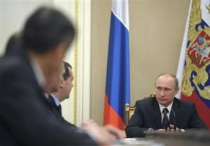 Russian President Putin chairs a meeting of the Security Council in Moscow's Kremlin