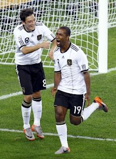 Germany's Cacau celebrates scoring a goal against Australia during a 2010 World Cup Group D soccer match at Moses Mabhida stadium