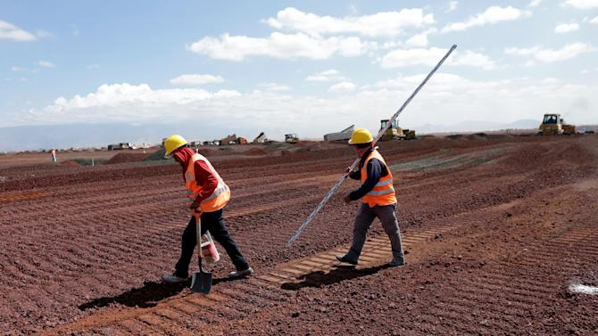 Workers are seen at the construction site of a new International airport at Texcoco, on the outskirts of Mexico City