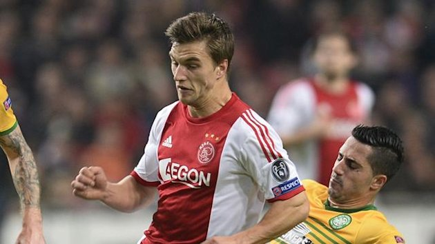 Ajax defender Joel Veltman in action against Celtic (Reuters)