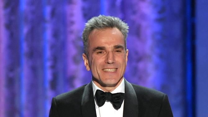 """Daniel Day-Lewis accepts the awards for outstanding male actor in a leading role for """"Lincoln"""" at the 19th Annual Screen Actors Guild Awards at the Shrine Auditorium in Los Angeles on Sunday Jan. 27, 2013. (Photo by John Shearer/Invision/AP)"""