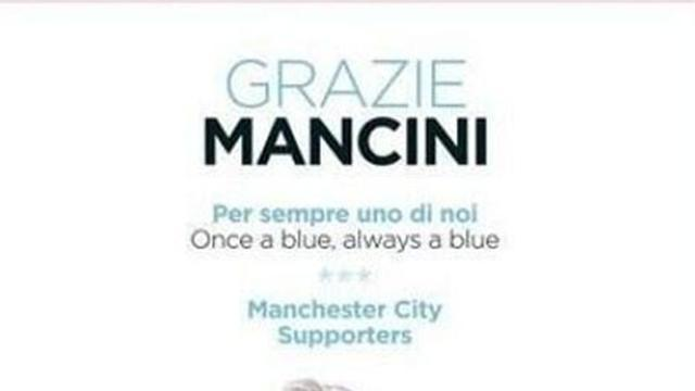 Premier League - Man City fans thank Mancini in Gazzetta