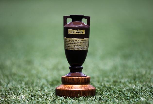 A replica Ashes urn is seen on the Gabba cricket ground in Brisbane