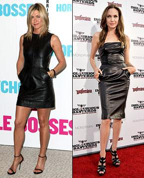 Jen Aniston Steals Angelina Jolie's Look in Tight Leather Mini-Dress