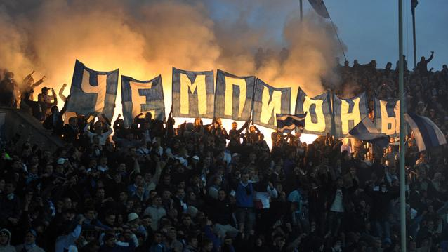Fans Of Zenit St. Petersburg Hold Banners AFP/Getty Images