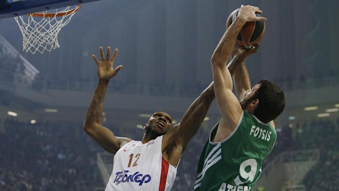 Panathinaikos' Antonis Fotsis, right, and Olympiakos' Cedric Simmons jump for a rebound during their Euroleague basketball match of Top 16 at the Olympic Indoor Arena in Athens, Thursday, Feb. 20, 2014