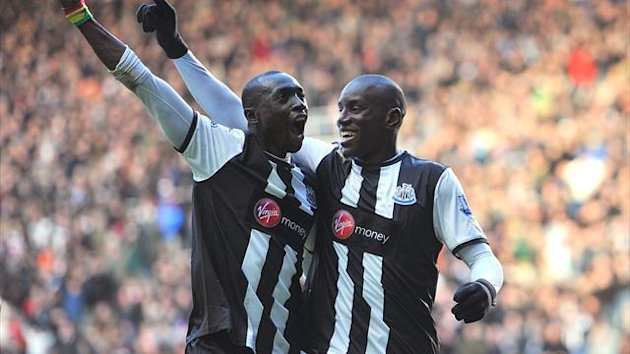 Newcastle United's Papiss Cisse and Demba Ba
