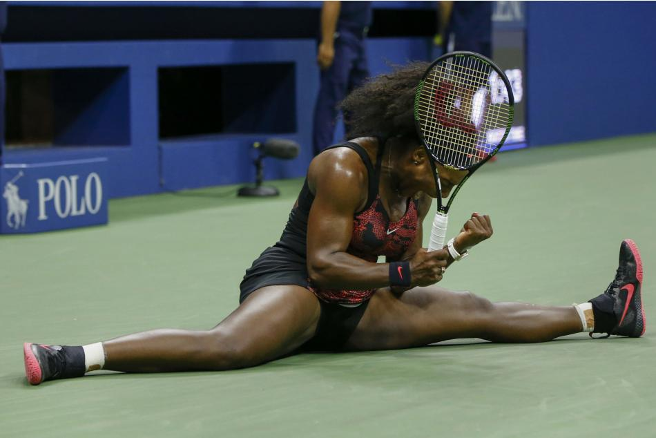 Williams of the U.S. celebrates after defeating compatriot Mattek-Sands in their third round match at the U.S. Open Championships tennis tournament in New York