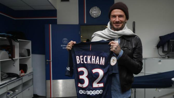 Beckham meets up with Verratti and Pastore on Paris Saint-Germain return