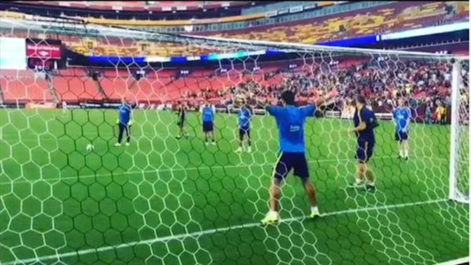 Football - Luis Suarez becomes goalkeeper for Uruguay in training, makes great penalty save