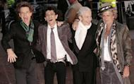 British rock band the Rolling Stones (L to R) Mick Jagger, Ronnie Wood, Charlie Watts, and Keith Richards in London in 2008. Most London shoppers rush by 165 Oxford Street without a second glance -- but it was there 50 years ago that The Rolling Stones played their first gig and changed the landscape of pop music forever