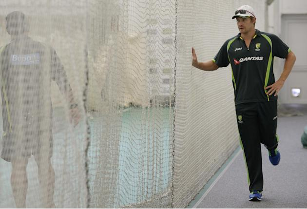 Australia's Shane Watson during an indoor training session