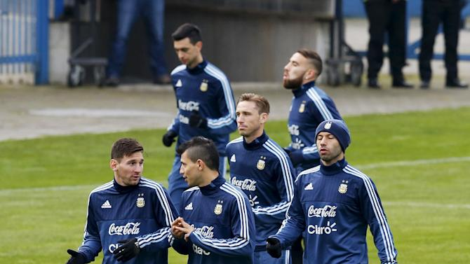 Argentina's national soccer team players participate in a team training session in Concepcion