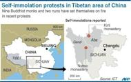 Map showing the Tibetan regions of China's Sichuan province where 11 Buddhists have set themselves on fire in recent months to protest Chinese rule. Rights groups say that at least five monks and two nuns have died