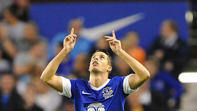 Everton's Kevin Mirallas celebrates after scoring the first of his two goals