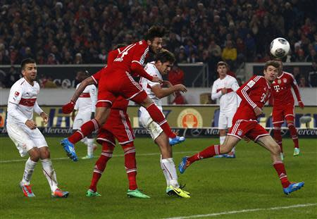 Bayern Munich's Pizarro scores against Stuttgart during German Bundesliga soccer match in Stuttgart