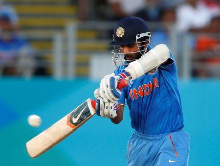 India's Rahane plays a shot during their Cricket World Cup match against Zimbabwe, in Auckland