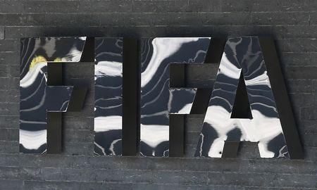 The FIFA logo is seen at the FIFA headquarters in Zurich