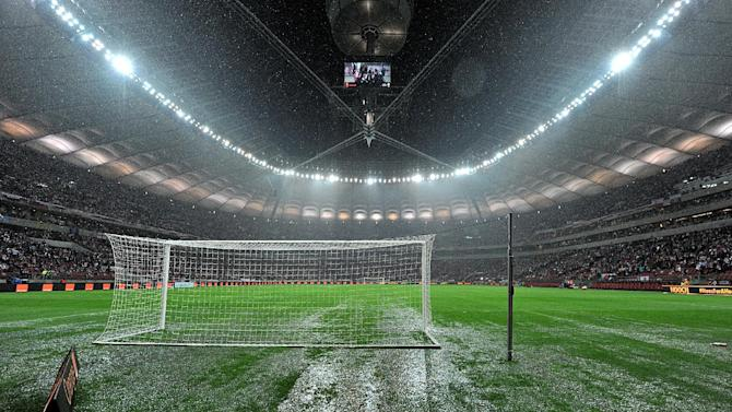 Heavy rain ensured the postponement of England's match in Poland