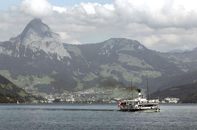 The tourist steamboat 'Stadt Luzern' sails on Lake Lucerne. The 'Stadt Luzern' was built in 1928.