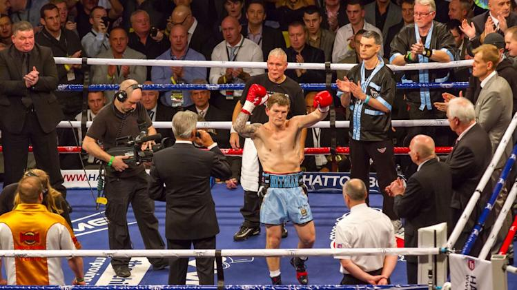 Ricky Hatton given a hero's reception by the crowd  (photo: Neill Hamersley)