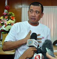 Algeria siege survivor Joseph Balmaceda complains of chest pains inflicted at a press conference in Manila on January 21, 2013. Algeria has warned other nations to prepare for a higher body count after a four-day siege of a gas plant by Islamist militants ended in a bloodbath, amid fears as many as 50 hostages may have died