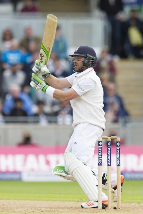 England's Ian Bell plays a shot off the bowling of Australia's Mitchell Johnson on the first day of the third test match of their five match series between England and Australia at Edgbaston c
