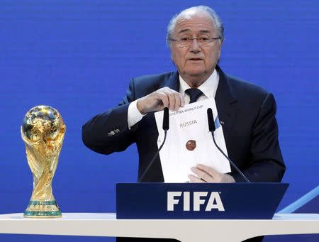 FIFA President Blatter announces Russia as the host nation for the FIFA World Cup 2018  in Zurich