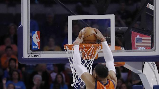 Oklahoma City Thunder guard Russell Westbrook (0) dunks against the New Orleans Pelicans during the first half of an NBA basketball game in Oklahoma City, Sunday, Dec. 4, 2016. (AP Photo/Alonzo Adams)